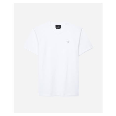 The Kooples - White cotton T-shirt with skull patch - MEN