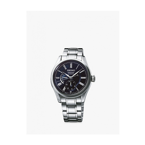 Seiko SPB091J1 Men's Presage Automatic Bracelet Strap Watch, Silver/Midnight