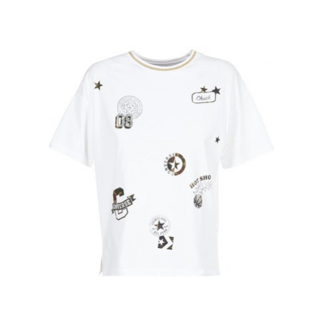 Converse CONVERSE ALL OVER PATCH BOXY TEE women's T shirt in White