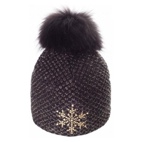 R-JET TOP FASHION EXCLUSIV GOLD LUREX black - Women's knitted hat