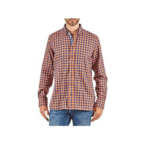 Hackett SOFT BRIGHT CHECK men's Long sleeved Shirt in Orange