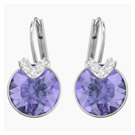 Bella V Pierced Earrings, Violet, Rhodium plated Swarovski