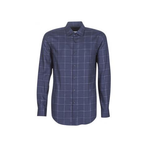 HUGO KENNO men's Long sleeved Shirt in Blue Hugo Boss