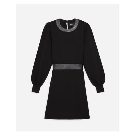 The Kooples - Knit black dress with leather details - WOMEN