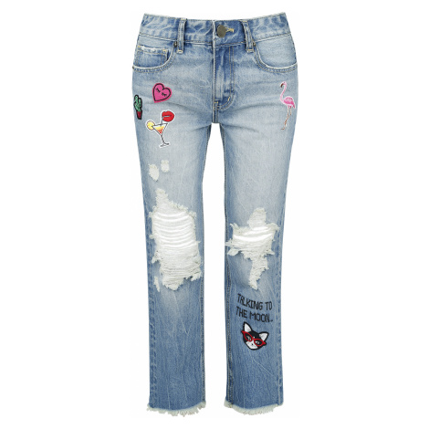 Fashion Victim - Destroyed Patch Jeans - Girls jeans - blue