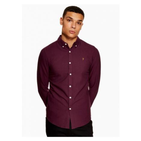 Mens Purple Farah Burgundy 'Brewer' Slim Long Sleeve Shirt*, PURPLE