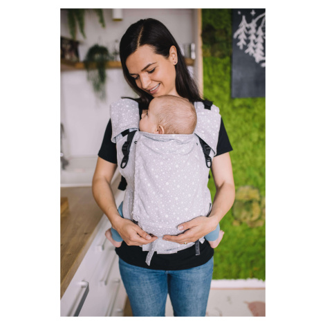 Baby Carrier - Be Lenka 4ever Neo - Dots - Grey wide with the possibility of crossing