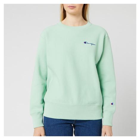 Champion Women's Small Script Crew Neck Sweatshirt - Mint Green
