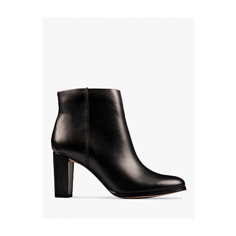 Clarks Kaylin Leather Heeled Ankle Boots, Black