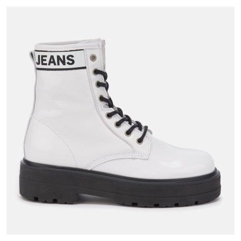 Tommy Jeans Women's Patent Leather Flatform Boots - White - UK - White Tommy Hilfiger