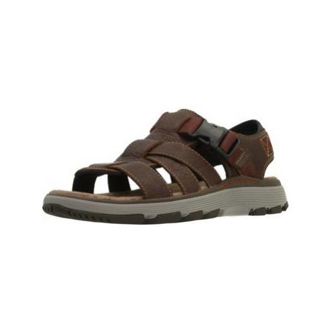 Clarks UN TREK COVE DARK TAN LEA men's Sandals in Brown
