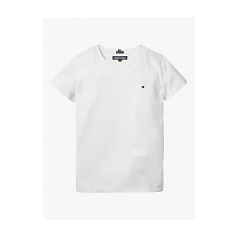 Tommy Hilfiger Girls' Basic Flag Logo Short Sleeve Organic Cotton Top