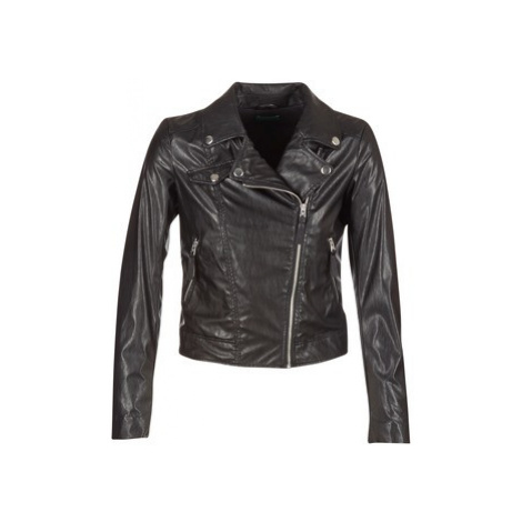 Benetton FAJOLI women's Leather jacket in Black United Colors of Benetton