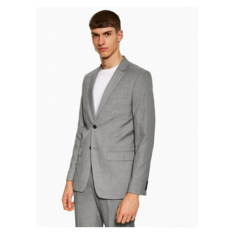 Mens Mid Grey Grey Marl Slim Fit Single Breasted Suit Blazer With Notch Lapels, Mid Grey