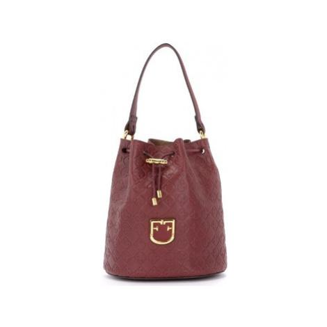 Furla Corona S bucket bag in textured burgundy leather women's Shoulder Bag in Red