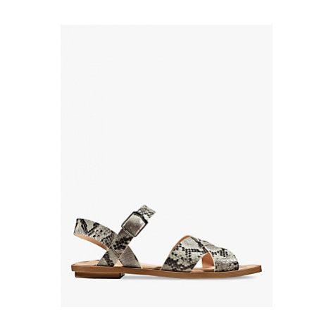 Clarks Willow Leather Flat Sandals, Grey Snakeskin