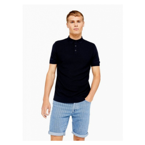 Mens Navy Short Sleeve Button Knitted Polo, Navy Topman