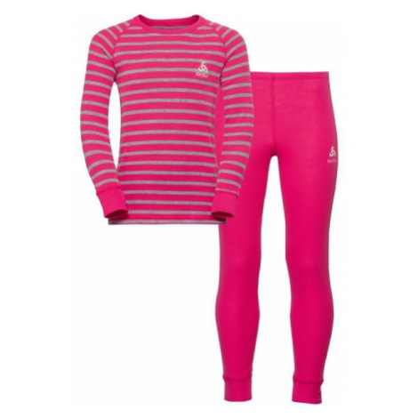 Odlo WARM KIDS SHIRT L/S + PANTS pink - Kids' functional set