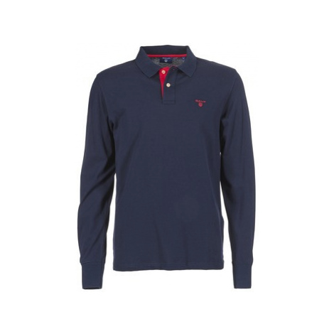 Gant CONTRAST COLLAR PIQUE men's Polo shirt in Blue