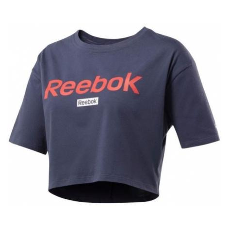 Reebok LINEAR LOGO CROP TEE dark blue - Women's T-shirt