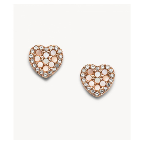 Fossil Women's Mosaic Heart Rose Gold-Tone Stainless Steel Earrings - Rose Gold