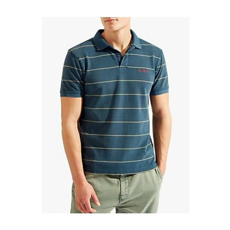 HKT Short Sleeve Stripe Polo Shirt, Shadow Hackett