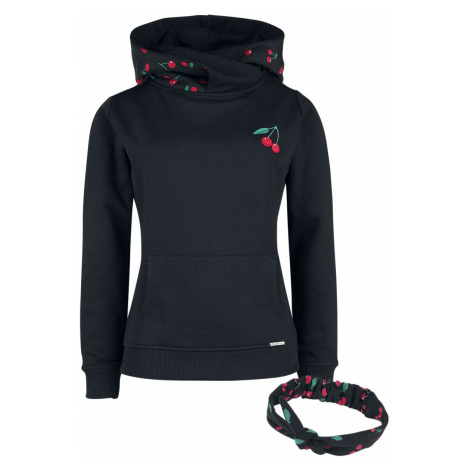 Pussy Deluxe Cherries Shawl Hoodie with Hairband Hooded sweater black red