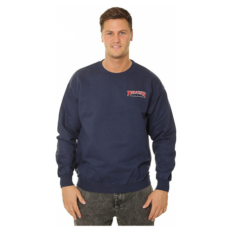 sweatshirt Thrasher Embroidered Outlined Crew - Navy Blue - men´s
