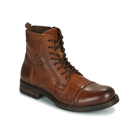 Jack Jones JFW RUSSEL LEATHER men's Mid Boots in Brown Jack & Jones