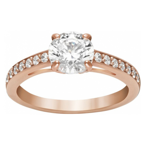 Swarovski Attract White Crystal Rose Gold Plated Round Ring