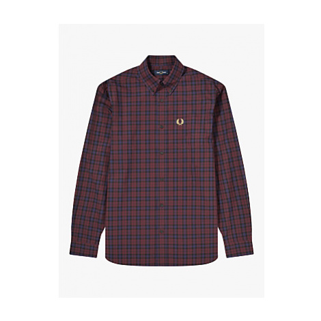 Fred Perry Regular Fit Tartan Shirt, Red/Blue