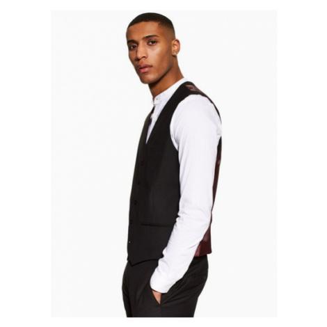 Mens Black Skinny Fit Suit Waistcoat, Black Topman