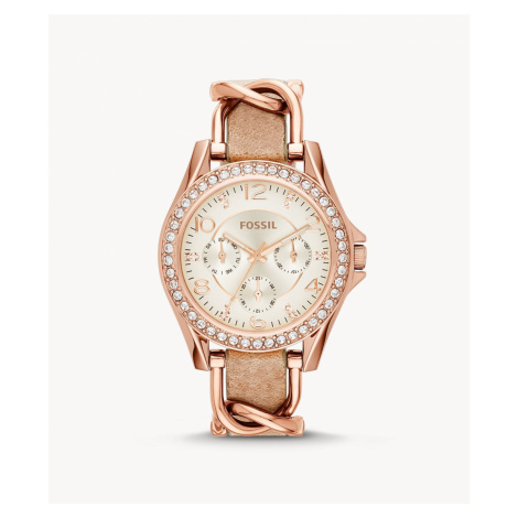 Fossil Women's Riley Multifunction Rose-Tone & Sand Leather Watch