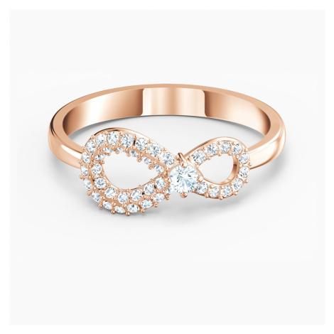 Swarovski Infinity Ring, White, Rose-gold tone plated