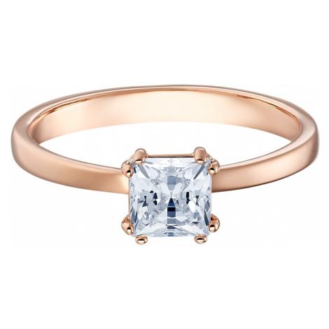 Attract Motif Ring, White, Rose-gold tone plated Swarovski