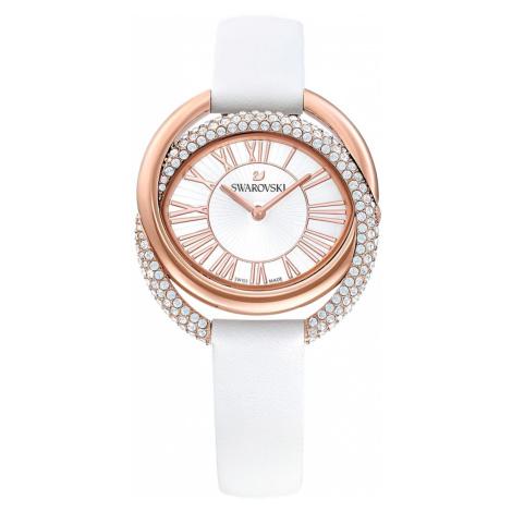 Duo Watch, Leather strap, White, Rose-gold tone PVD Swarovski