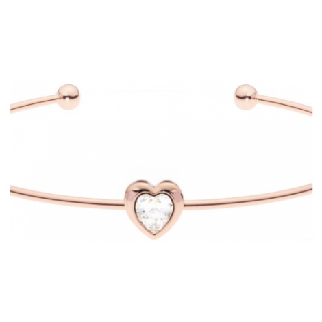 Ladies Ted Baker Rose Gold Plated Crystal Heart Ultrafine Cuff Bangle TBJ1682-24-02