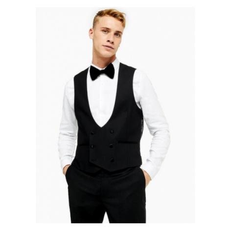 Mens Black Double Breasted Skinny Fit Suit Waistcoat, Black Topman