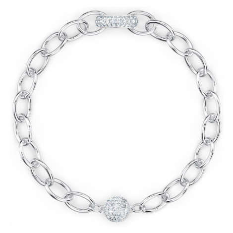 The Elements Chain Bracelet, White, Rhodium plated Swarovski