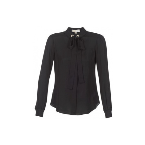 MICHAEL Michael Kors GROMMET NK TIE BLSE women's Blouse in Black