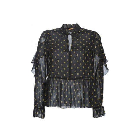 Maison Scotch SHEER PRINTED TOP WITH RUFFLES women's Blouse in Black Scotch & Soda