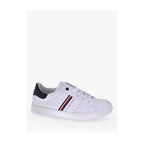 Tommy Hilfiger Children's Logo Lace Up Trainers, White