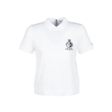 Tommy Hilfiger CHRISTINE STR PQ POLO SS women's Polo shirt in White