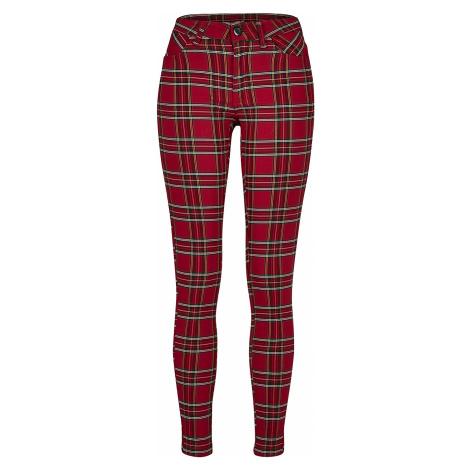 Urban Classics - Ladies Skinny Tartan Pants - Girls trousers - red-black