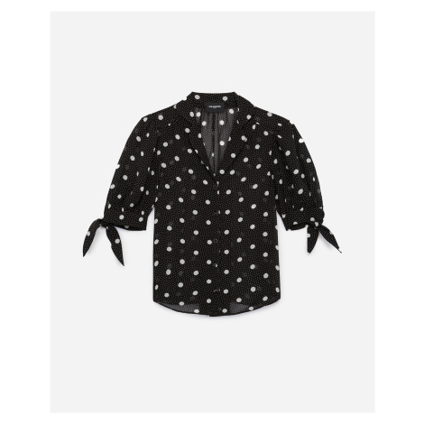 The Kooples - Black printed shirt with sleeve bows - WOMEN
