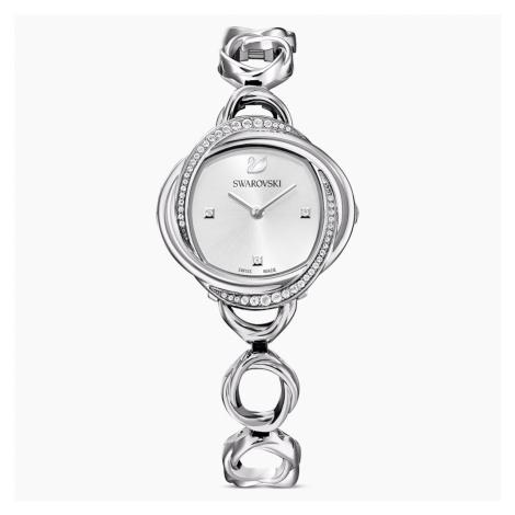Crystal Flower Watch, Metal bracelet, Silver Tone, Stainless steel Swarovski