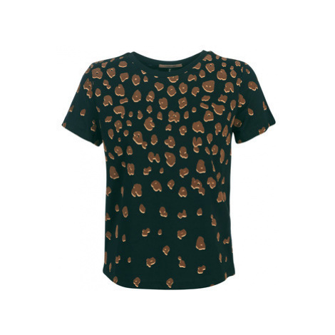 Maison Scotch SHORT SLEEVE TEE WITH PLACEMENT FLOCK PRINT women's Blouse in Black Scotch & Soda
