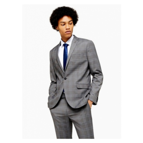 Mens Grey And Blue Check Single Breasted Skinny Fit Suit Blazer Wth Notch Lapels, Grey Topman