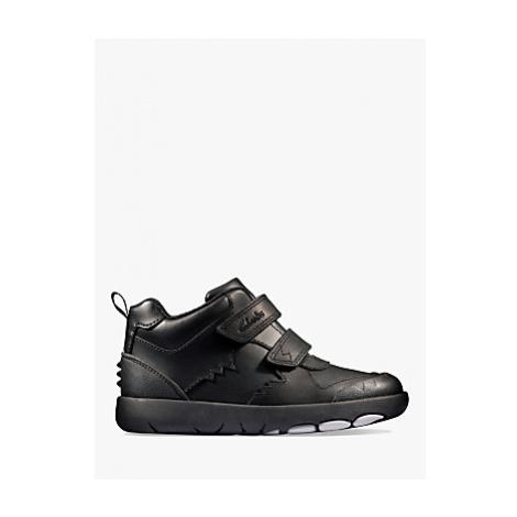 Clarks Children's Rex Crash Leather School Shoes, Black