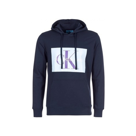 Calvin Klein Jeans MONOGRAM BOX LOGO HOODIE men's Sweatshirt in Blue